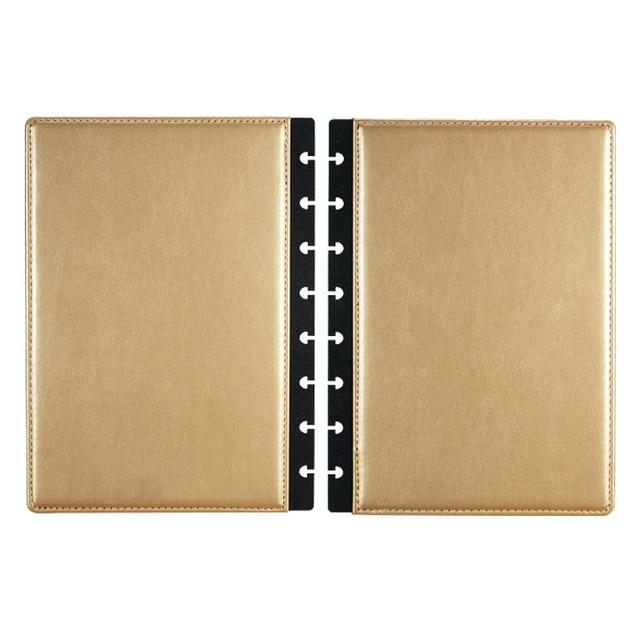 Fromthenon A5 버섯 Discbound 노트북 가죽 커버 8 구멍 느슨한 잎 나선형 플래너 바인딩 커버 사무실 학교 편지지