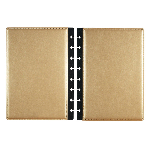 Discbound Planner Cover leather - reliure à disques - or gold spread double