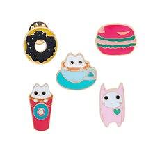 Fashion Personality Cartoon Cute Cat Hamburger Coffee Drink Donuts Brooch Pins Denim Lapel Badge Hat Collar Enamel Pin Brooches