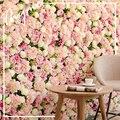 Искусственные розы стены гортензии пион фон стены дома съемки вечерние деятельности Свадебные украшения поддельные фоне кирпичной стены