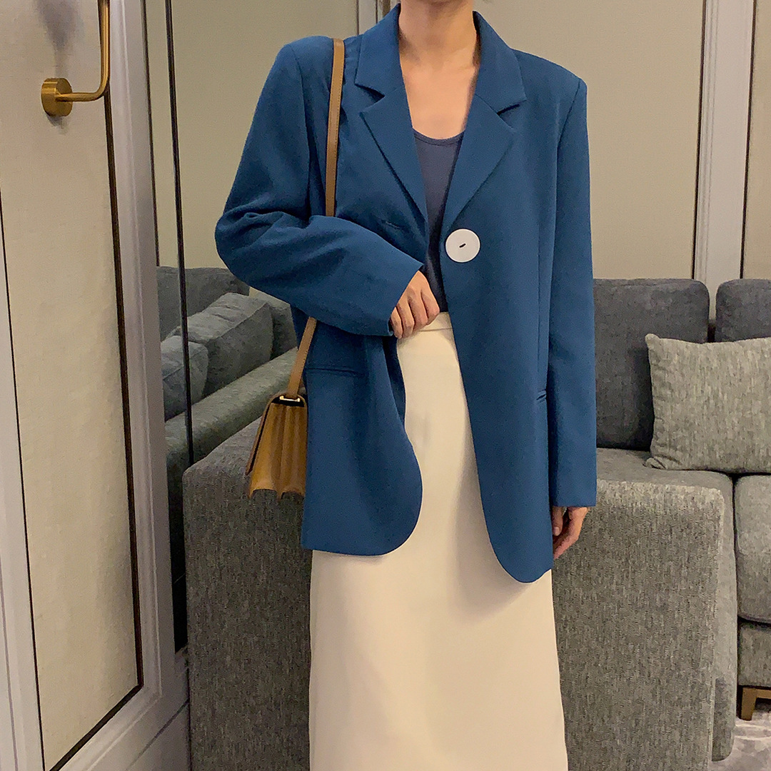 2019 New Autumn Leisure Loose Small Suit Coat Retro Notched Single Button Women Jackets and Coats Suit