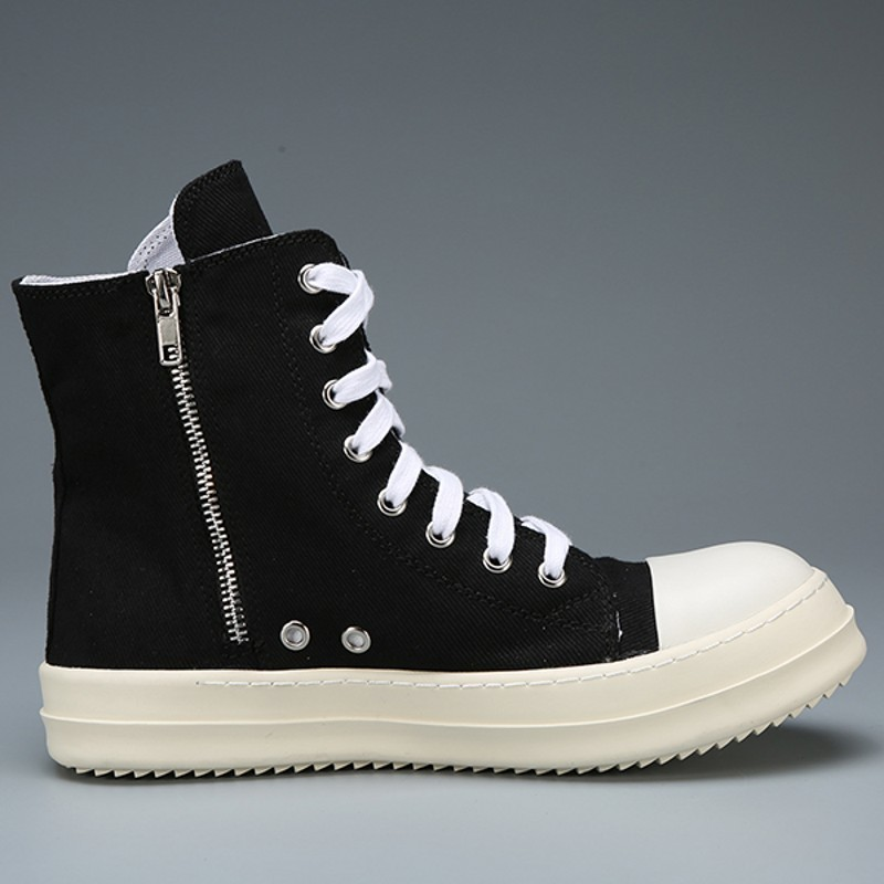 High Top Shoes Men Genuine Leather Lace Up Luxury Ankle Trainers Canvas Sneakers Boots High Street Hip Hop Casual Flats Shoes