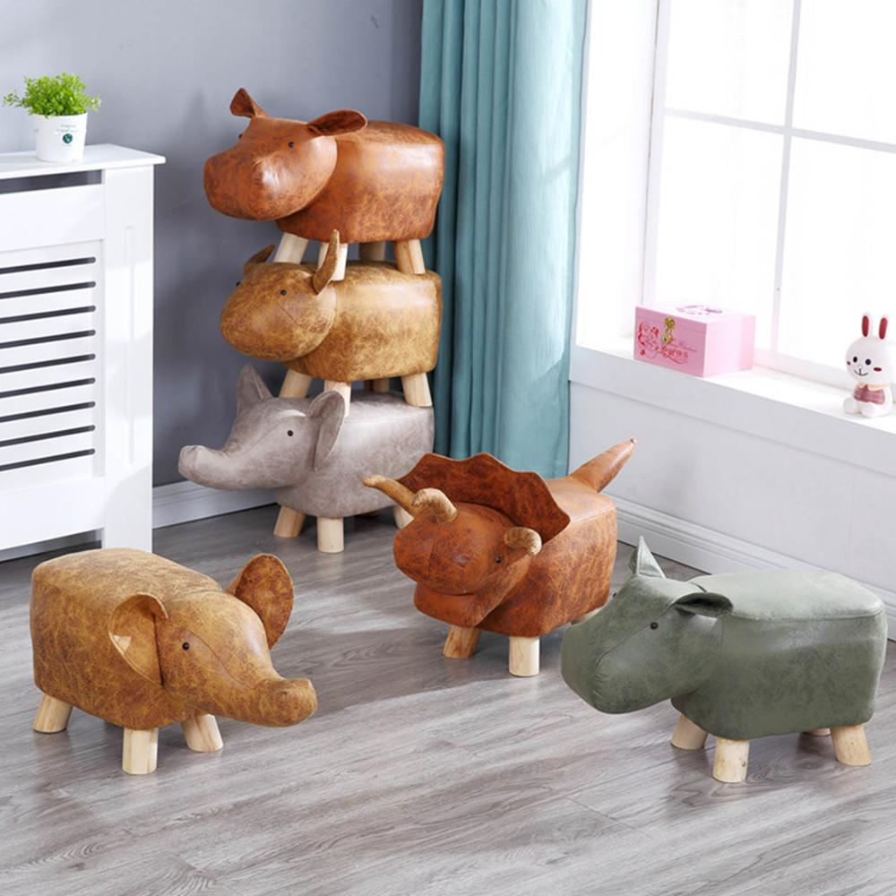Cushion Stool Footrest Storage Ottoman Animal-Shaped Ride-On Padded Rest-Seat AU/CN