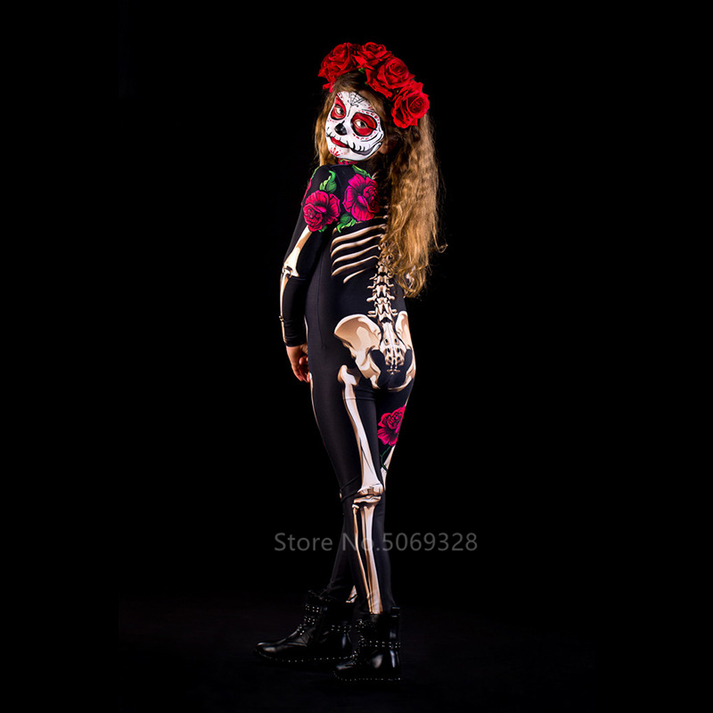 Hd94b2383b2ad4450a798fd6341183cc6s - Skeleton Rose Sexy Women Halloween Devil Ghost Jumpsuit Party Carnival Performance Scary Costume Kids Baby Girl Day Of The Dead