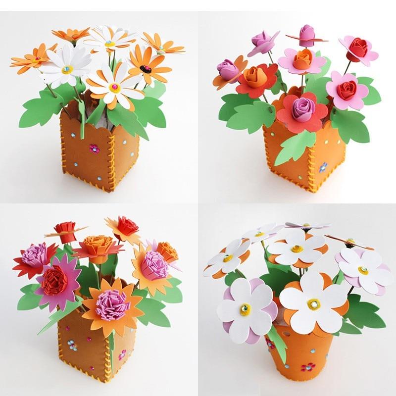 1 шт./компл. милые ЕВА моделирование цветочных горшков под заказ для детей с цветочным узором ручной работы детского сада Diy Материал сумка