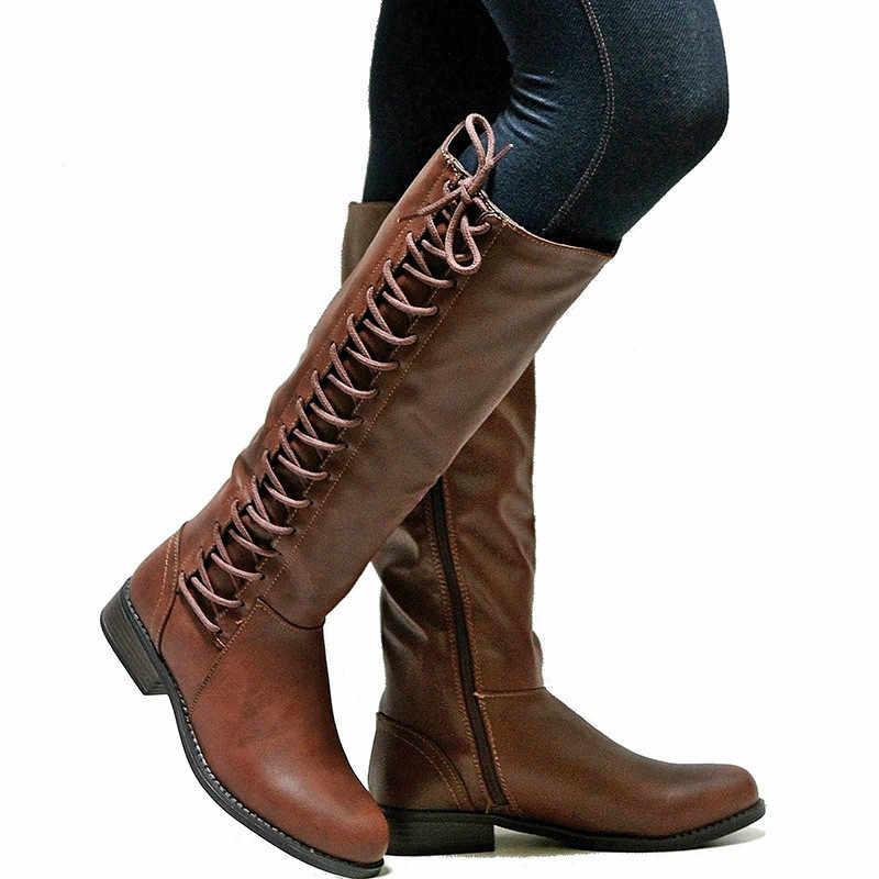 Moda çizmeler kadınlar seksi diz yüksek çizmeler bağcıklı ayakkabı kadın düz topuk kışlık botlar motosiklet botları kadın Botas Mujer