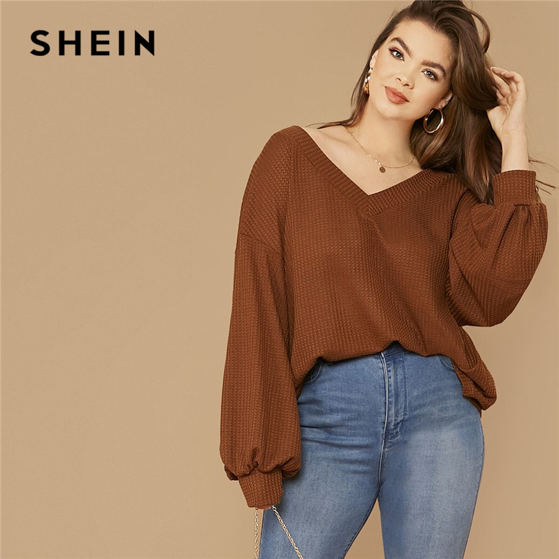 SHEIN Plus Size Brown Drop Shoulder Lantern Sleeve Waffle Knit Top Women Spring Long Sleeve V-Neck Basic Casual T-shirts