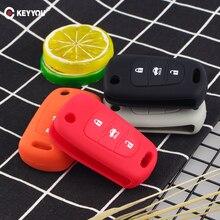KEYYOU silikonowy 3 przycisk zdalny klucz składany obudowa pilota pokrywa dla Kia K2 K5 Pro Ceed HYUNDAI i20 i30 i40 SANTA obudowa kluczyka do samochodu