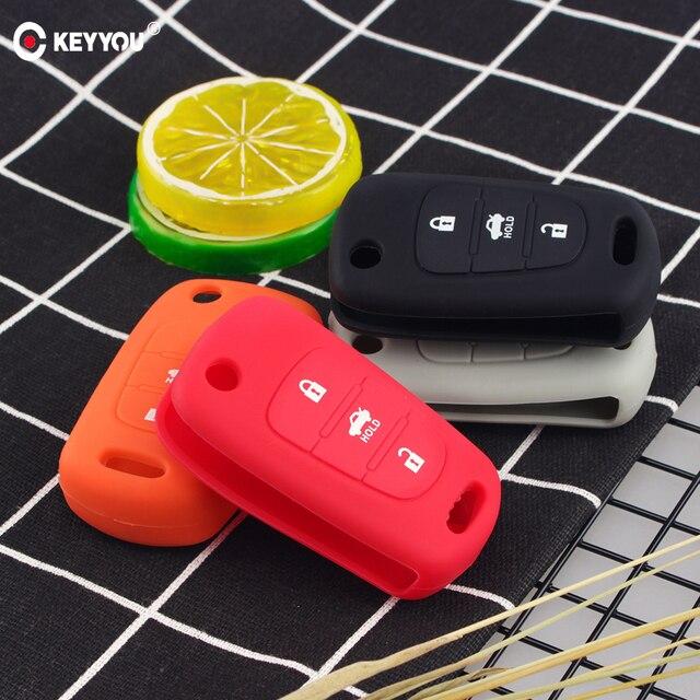 Keyyou Silicone 3 Nút Flip Remote Key Fob Ốp Lưng Cho Xe KIA K2 K5 Pro Ceed Hyundai I20 I30 i40 Santa Chìa Khóa Ô Tô