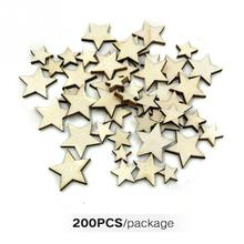 200Pcs/100Pcs Wooden Stars Scrapbooking Buttons Light Weight Size Mixing Decorative DIY Crafts Embellishments Ornaments #