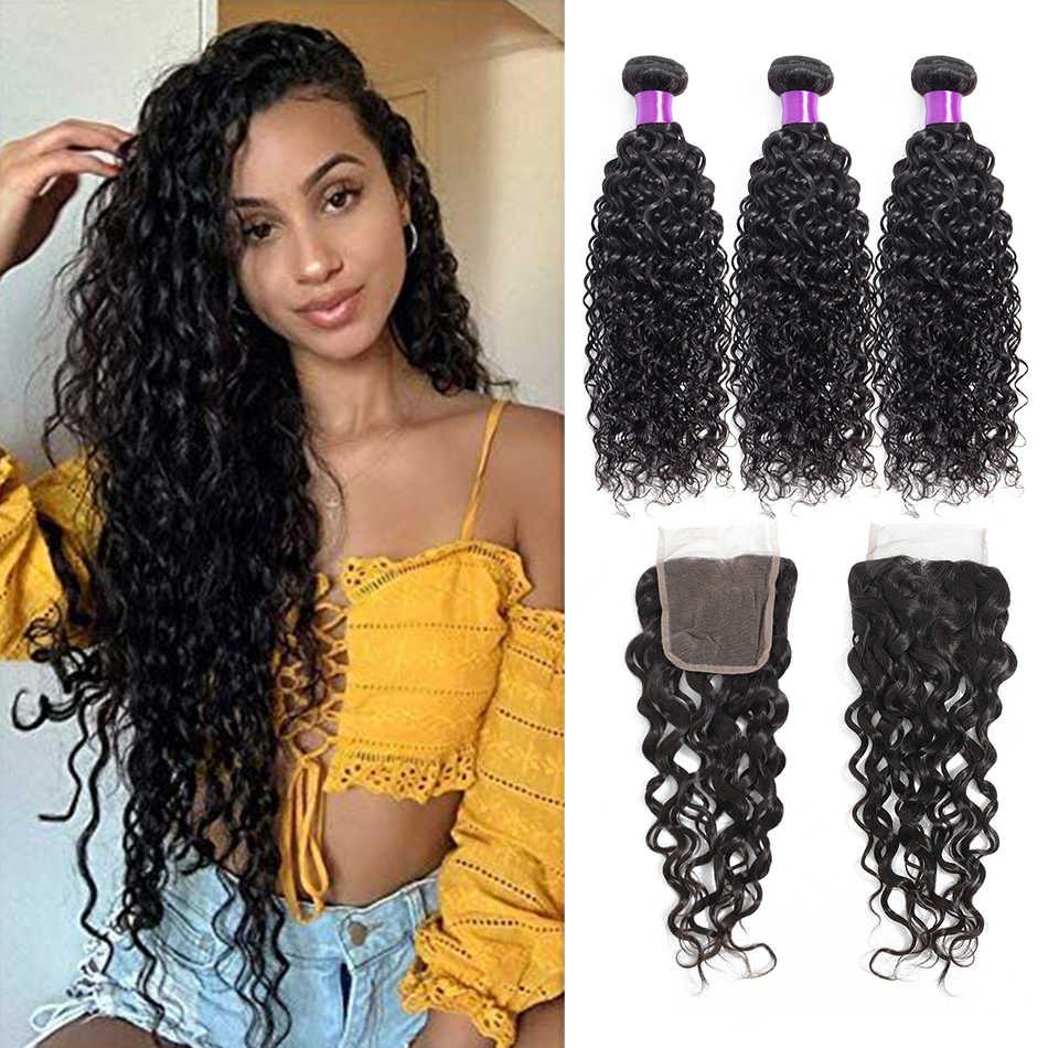 Liddy Bundles With Closure Brazilian Water Wave Hair Bundles With Closure 100% Human Hair Natural Color Non-remy Hair Extensions
