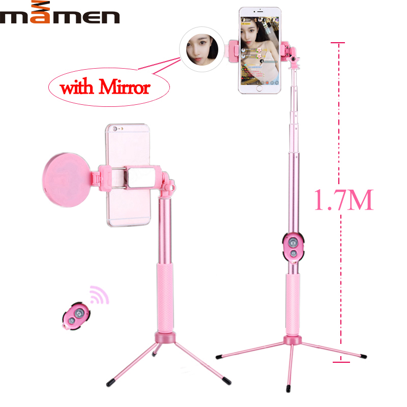 MAMEN Bluetooth Selfie Stick Tripod With Ring Light lamp Beauty Portable Fill Video Lighting Smartphone For iPhone 11 Pro Max xs