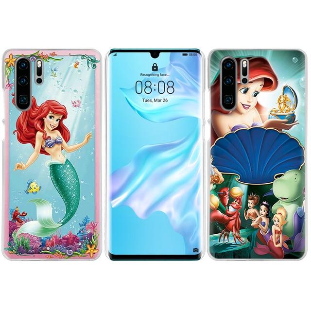 Cartoon Little Mermaid Case for Huawei P20 P30 P40 Lite E P Smart Z Plus 2019 P10 Mate 10 20 Pro Hard Carcasa Phone Cover Cas