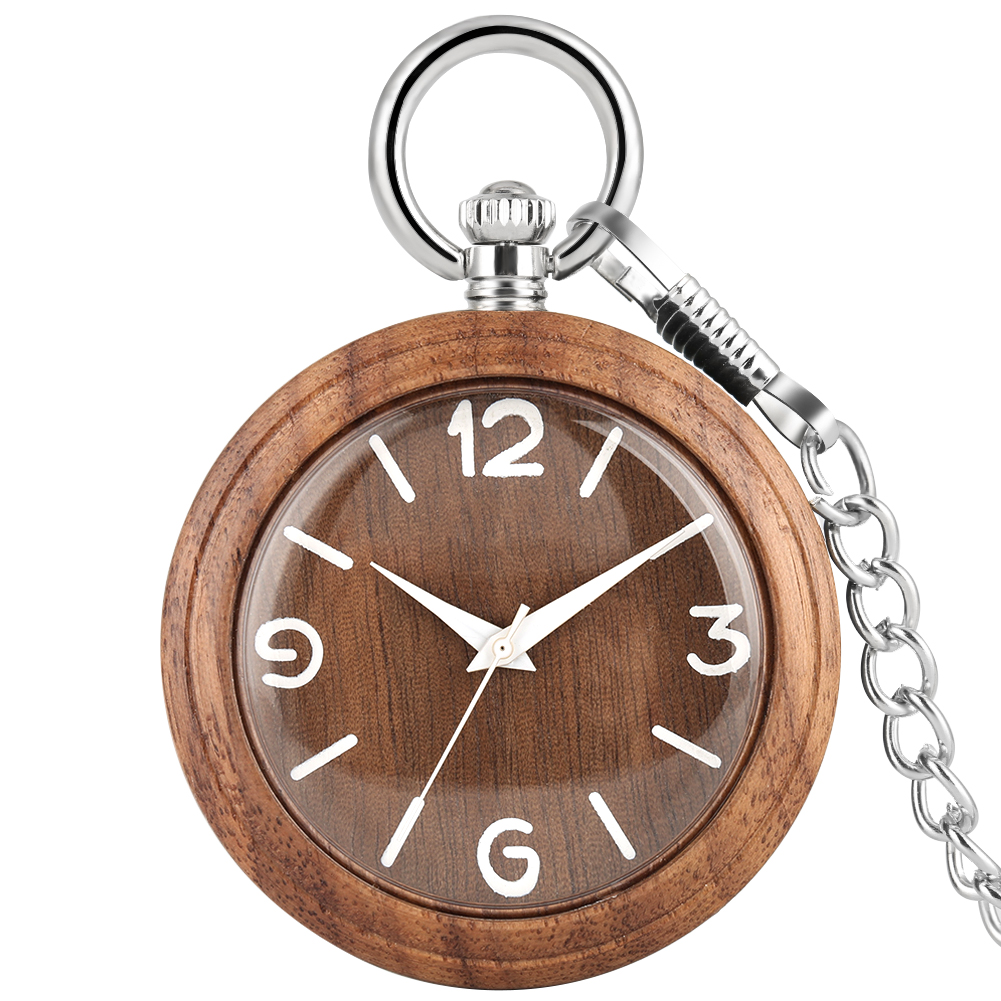 Natural Walnut Case Pocket Watches For Men Concise Large Dial Silver Rough Chain Pendant Watch Necklace Women Relogio De Bolso