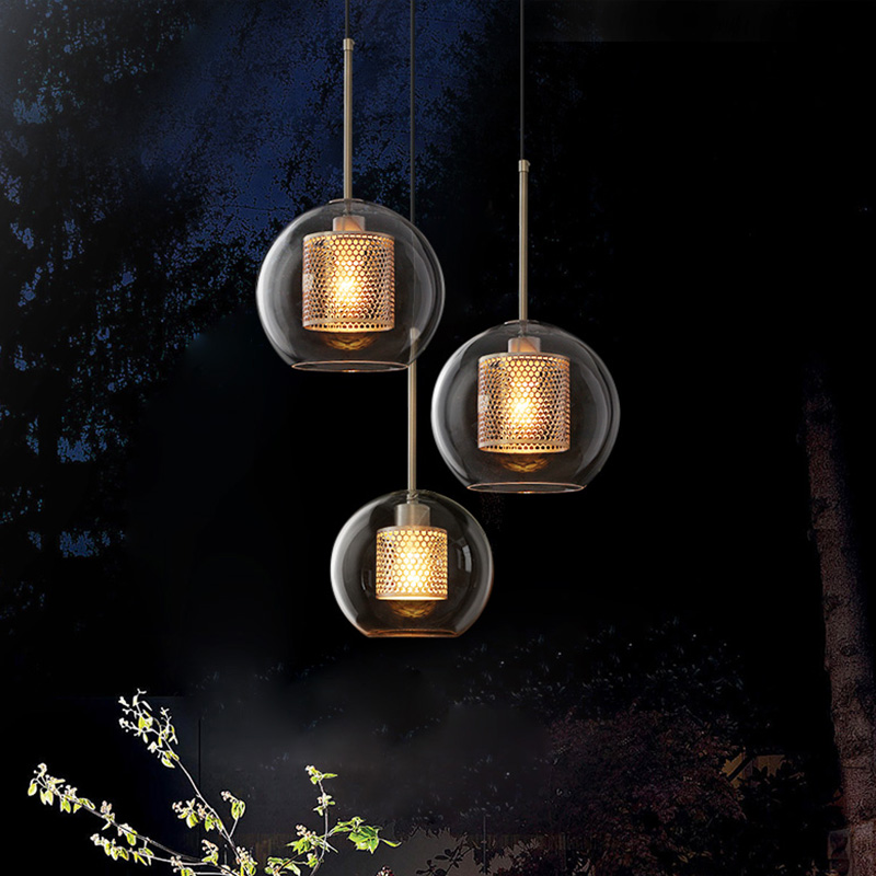 Industrial creative LED pendant lights Transparent Glass single head hanging lamp Nordic Iron fixtures for bedside bedroom home