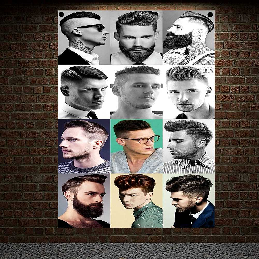 Classic Men S Hairstyle Show Barber Shop Poster Signboard Tapestry Banner Flag Wall Art Home Decor Canvas Painting Wall Hanging Flags Banners Accessories Aliexpress