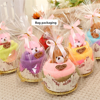10Sets 30x30cm Creative Towels Mini Bear Cup Cake Pack Microfiber fabric Hand Towels Face Washing Towel Party Wedding Gifts