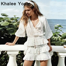 KHALEE YOSE White Tiered Mini Dress Autumn 2019 V-neck Holiday Dress Womens Cascade Frill Eyelet Long Sleeve Boho Chic Dress frill trim eyelet embroidered skirt