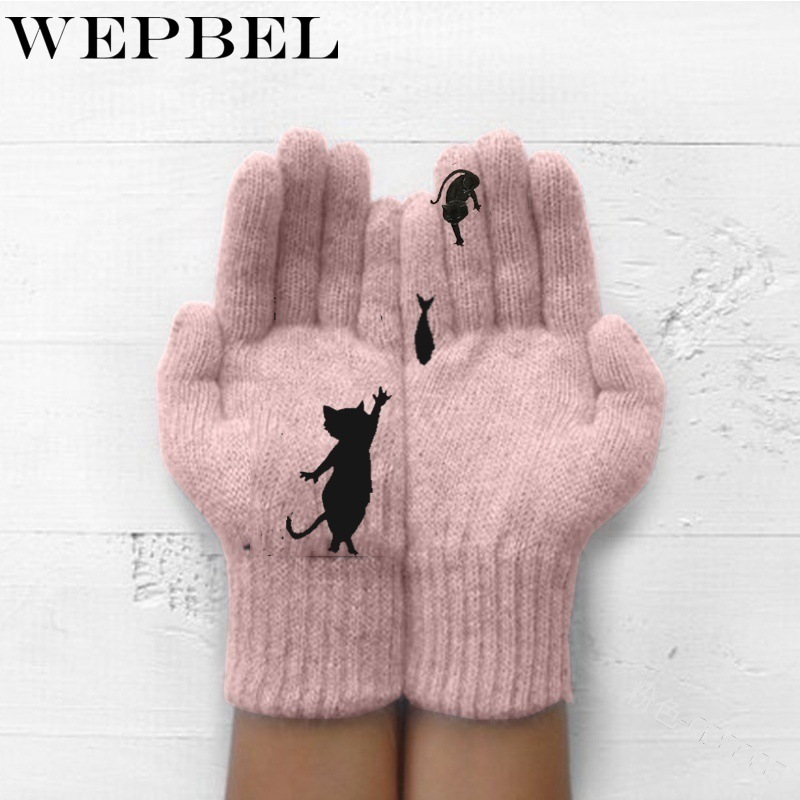 Women Cartoon Cat Fish Autumn Winter Gloves Warm Cashmere Thick Cute Fashion New Gloves