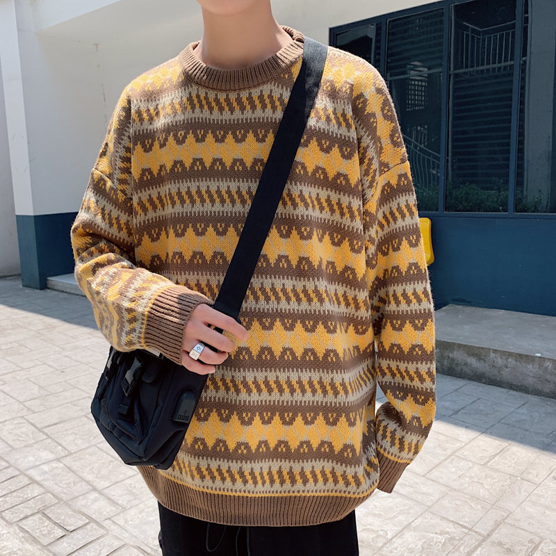 Winter Thick Sweater Men's Warm Fashion Retro Casual Knit Pullover Man Streetwear Wild Loose Long-sleeved Sweater Male Clothes
