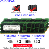 Ddr3 1 GB 2 GB 4GB 8GB 16GB 4G 8G 16G 32G DDR3 10600R 12800R 14900R ECC REG 1600Mhz 1866Mhz 1333Mhz RAM de memoria del servidor apoyo X58 X79 X99