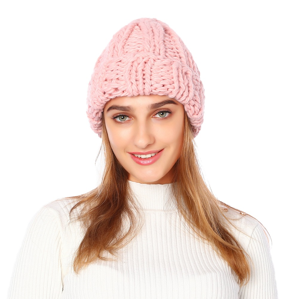 2019 New Women Knitted Thicken Warm Cap Winter Hats For Women Beanies Pink Gray Hat Female Outdoor Black Soft Gorros Cap