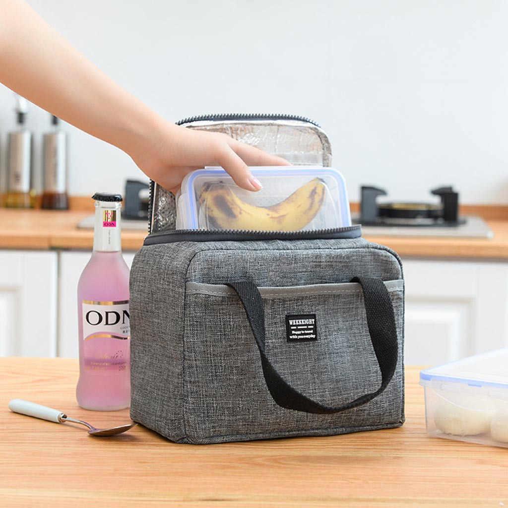 Worek do przechowywania worek na Lunch wodoodporna izolacja termiczna pudełko na Lunch Tote Cooler torebka torba bento szkolny pojemnik na żywność 20FEB19