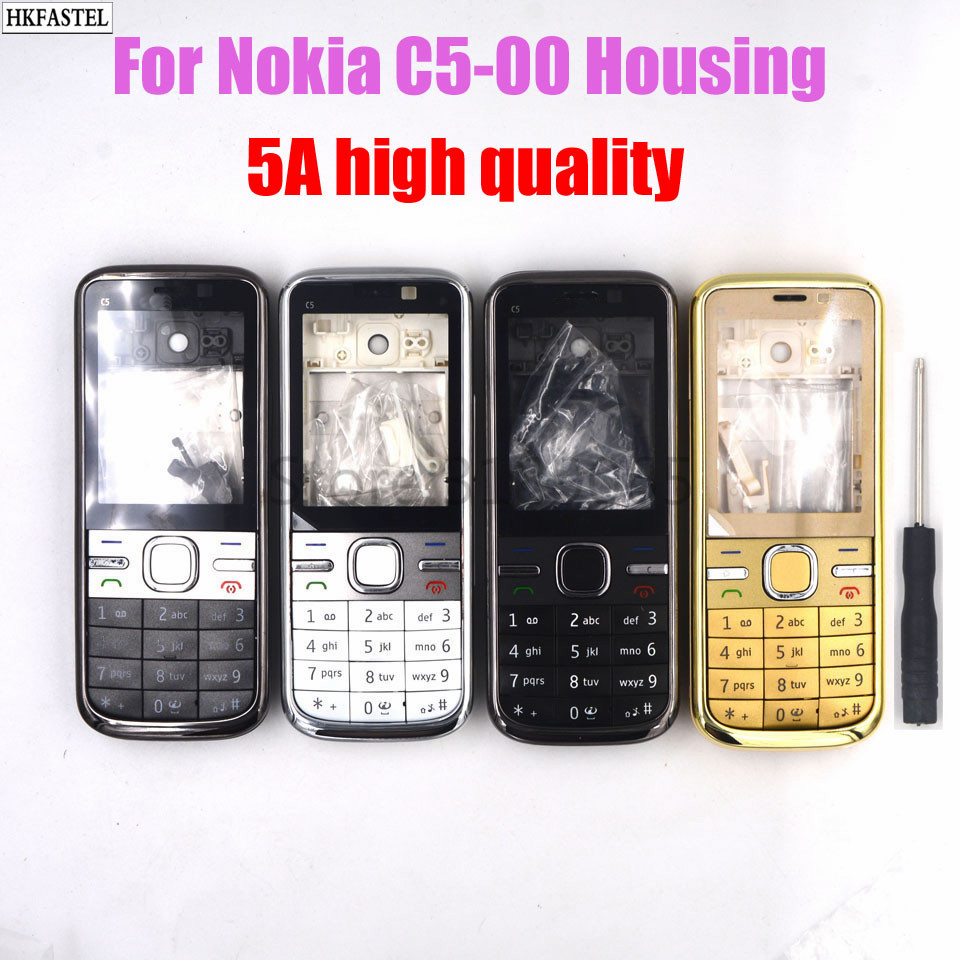 5A high quality <font><b>housing</b></font> For <font><b>Nokia</b></font> <font><b>C5</b></font>-00 <font><b>C5</b></font> 00 New Full Mobile phone cover Front Middle frame back battery door with tool image
