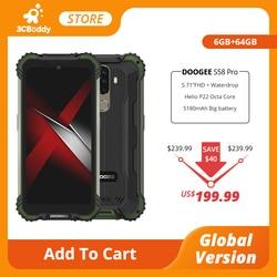 DOOGEE S58 Pro Мобильный Телефон IP68/IP69K водонепроницаемый прочный телефон 5180 мАч 5,71 дюймFHD + дисплей 6 ГБ + 64 ГБ Android 10 NFC Смартфон