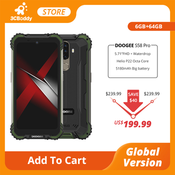 Купить DOOGEE S58 Pro Мобильный Телефон IP68/IP69K водонепроницаемый прочный телефон 5180 мАч 5,71 дюймFHD + дисплей 6 ГБ + 64 ГБ Android 10 NFC Смартфон