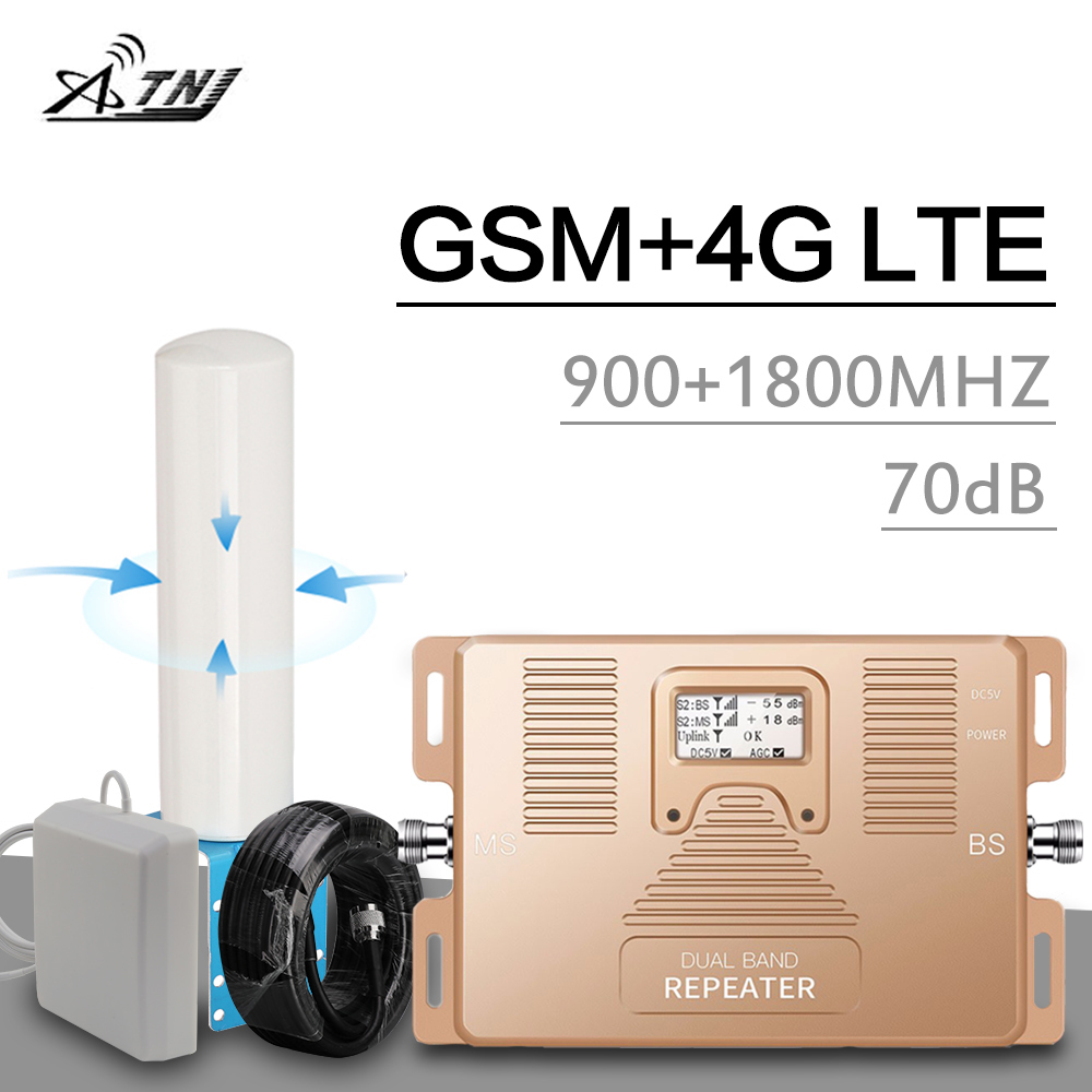 GSM 2g 4g Repeater 900 DCS LTE 1800 Mhz Dual Band Cellular Signal Booster B8 B3 Smart Real LCD Display 70 DB Gain 4G Amplifier