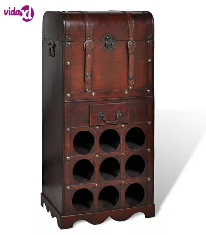 VidaXL Wooden Durable Classical Wine Rack For 9 Bottles With Storage Trunk Drawer Wine Bottle Storage Rack Bar Display Shelf