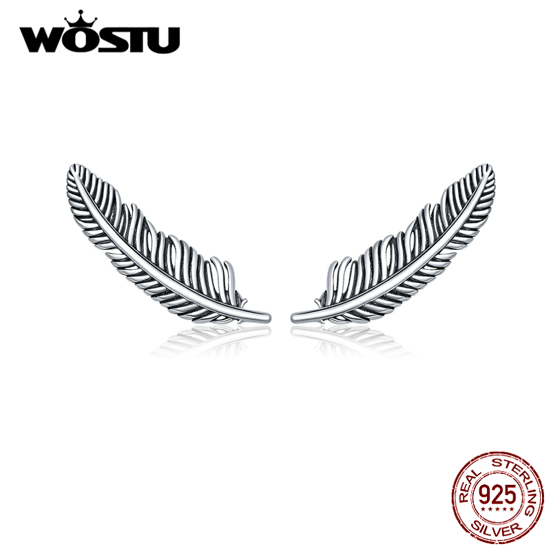 WOSTU Authentic 925 Sterling Silver Vintage Feather Stud Earrings Fashion Small Earrings For Women Wedding Party Jewelry CQE865