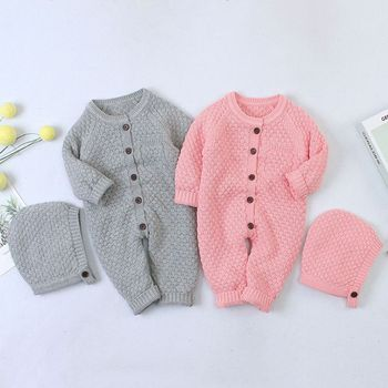 Premium Baby Knitted Rompers Clothes with Hat Infant Long Sleeve Sweater Autumn Winter Boys Girls Newborn Warm Jumpsuits Outfits
