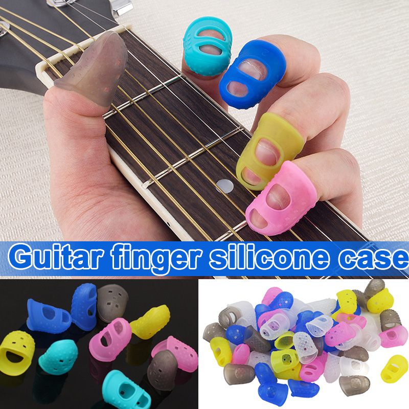 Hot 5 Sizes Guitar Fingertip Protectors Silicone Finger Guards For Ukulele Electric Guitar Small Middle Large MVI-ing