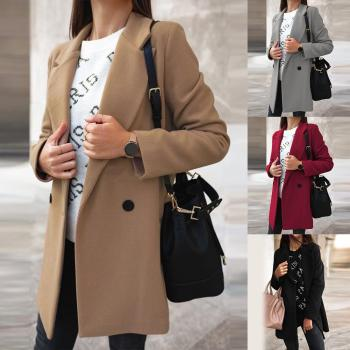 HOT SALES!!! Women Autumn Winter Fashion Wide Lapel Double-line Buttons Warm Coat Outwear Fashion Warm Keeping Coat Solid Color image