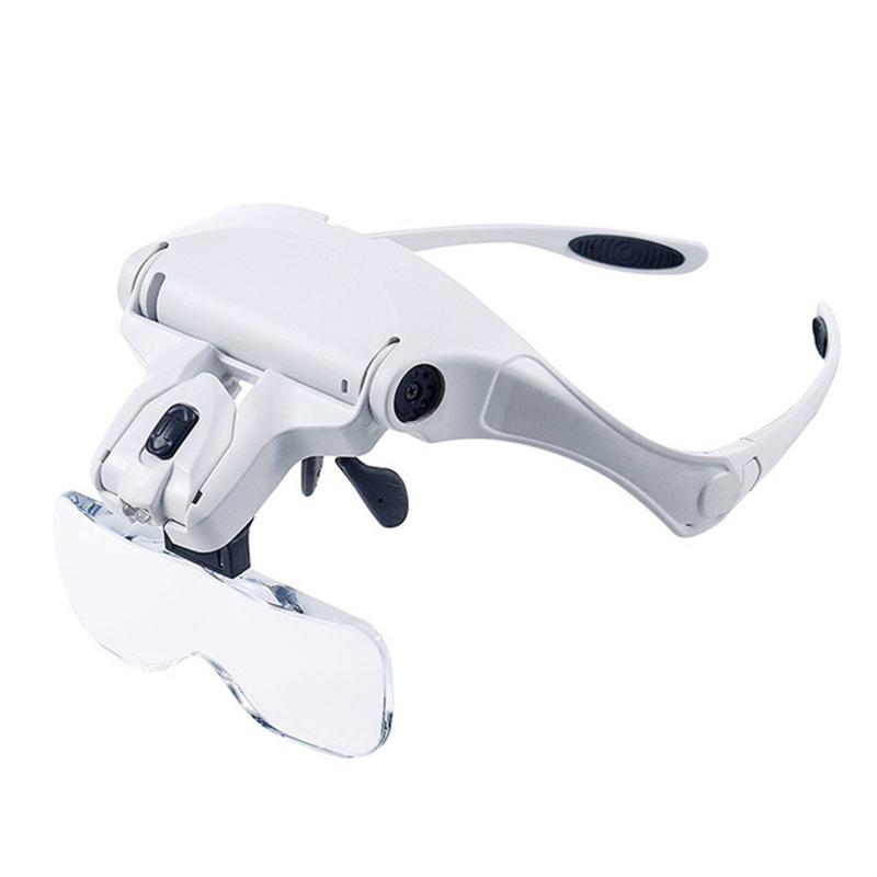 Microblading Headband Magnification Goggles Magnifying Glasses With LED Light And 5 Set Lenses For Embroidery Permanent Makeup
