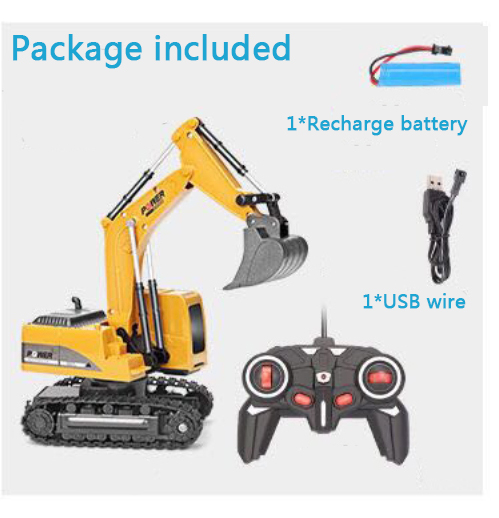 2.4ghz 6 channel 1:24 rc excavator toy rc engineering car alloy and plastic excavator rtr for kids birthday gift