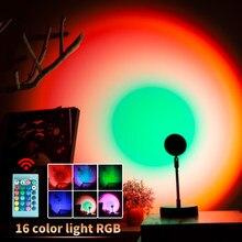 Pilot zdalnego sterowania RGB Sunset lampa projektora Rainbow projektor Led nocne oświetlenie do sypialni ściana sklepowa dekoracja nastrojowe oświetlenie