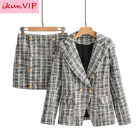 New ZA autumn spring long sleeve jacket coat women outwears plaid tweed skirts suit women 2 pieces sets women suits