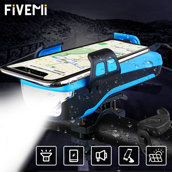 5 IN 1 Multifunction Bicycle Light USB Solar Charging Horn Phone Holder Power Bank Front Lamp For Bicycle Led Lamp Accessories