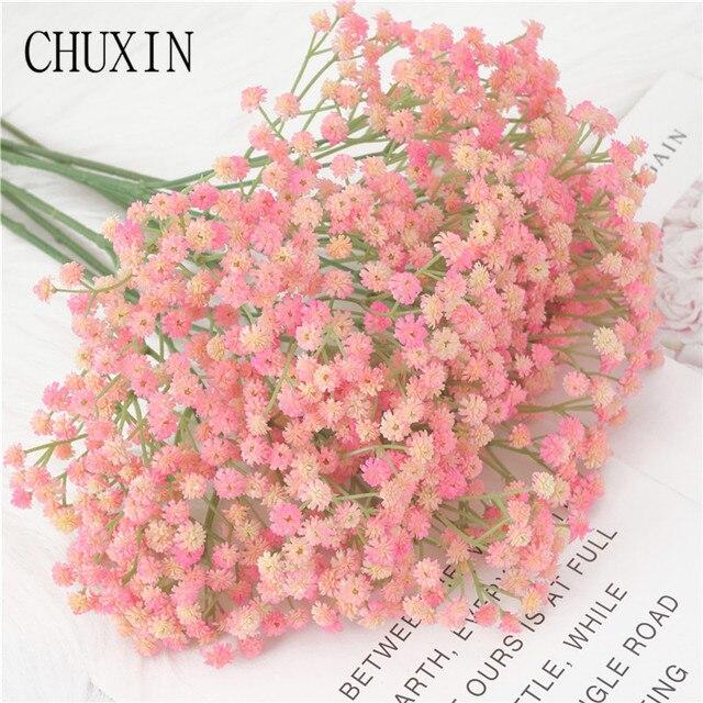 135 Mini cabezas 62cm DIY Artificial bebé respiración flor Gypsophila falso silicona plantas decoración de la boda arreglo de flores del hogar