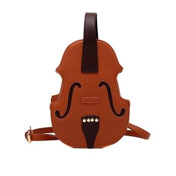 New 3 Colors Vintage Violin Design Shoulder Bag Crossbody Bag for Women 2021 Purses and Handbags Pu Leather Trendy Designer Bag 7