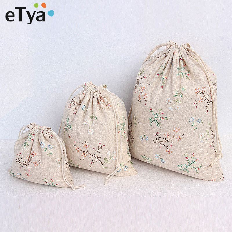 ETya Reusable Eco Cotton Drawstring Shopping Bag Flower Print Women Men Travel Shopper Grocery Tote Storage Bags Gift Pouch