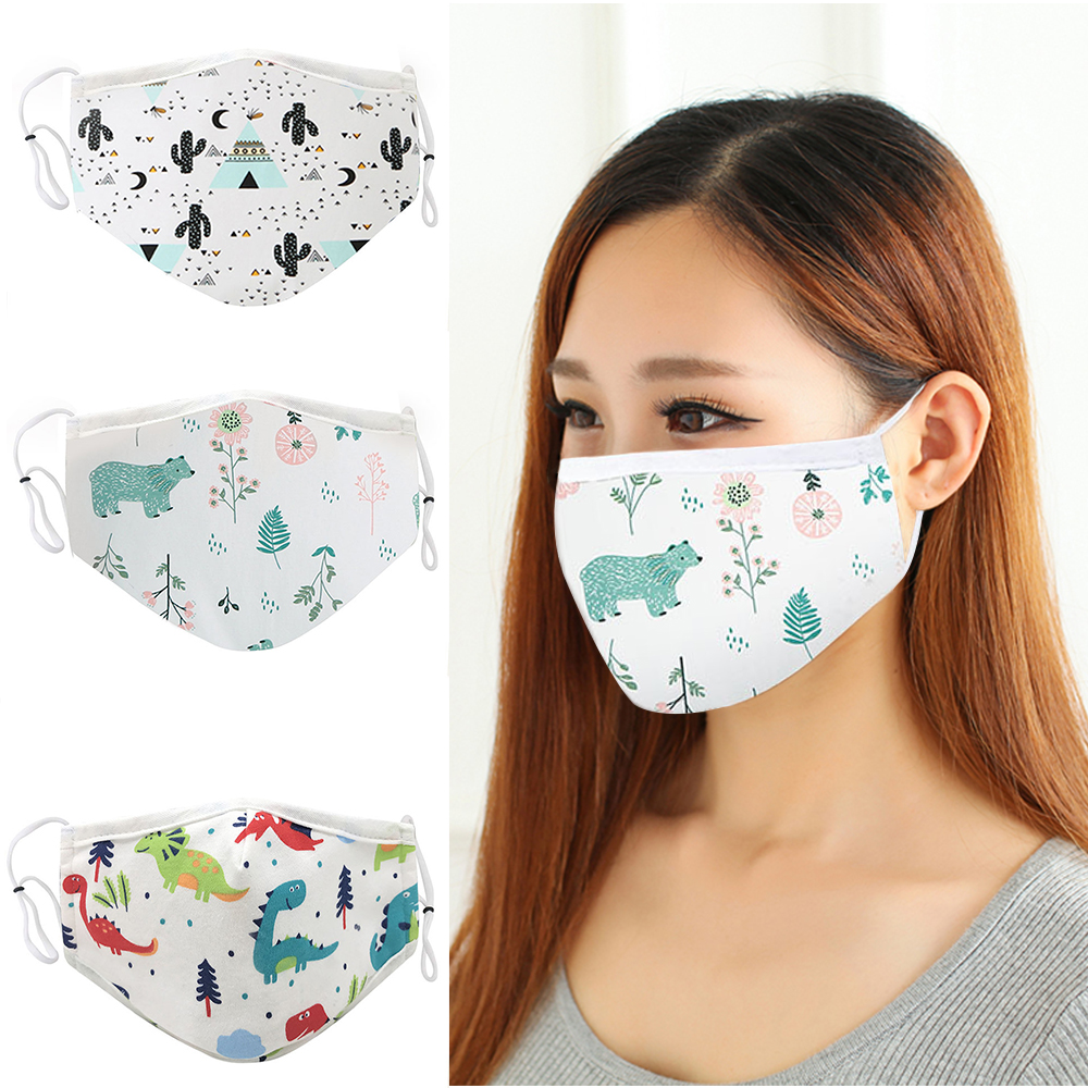 1pcs Cotton Dustproof Mouth Masks Reusable Washable Face Mask Adjustable Strings Cartoon Masks For Men Women Anti Dust Cover