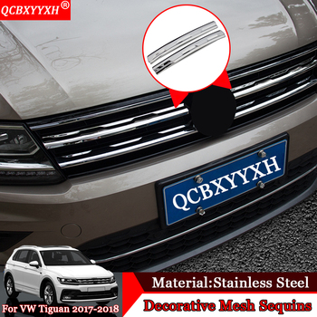 Car Styling Chrome Front Grille Hood Engine Cover Trim External Sequins Car sticker Accessories For Volkswagen Tiguan 2017 2018