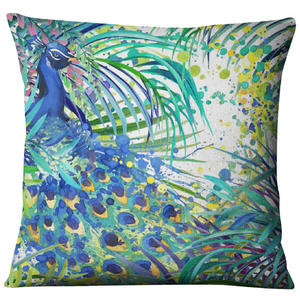 Image 4 - มือวาดสีน้ำพิมพ์ผ้าลินินสัตว์พืชFlamingoยีราฟโยนปลอกหมอนHome Decorโซฟาตกแต่ง
