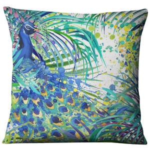 Image 4 - Hand painted Watercolor Printed Linen Cushion Cover  Animals Plants Flamingo Giraffe Throw Pillowcase Home Decor Sofa Decoration