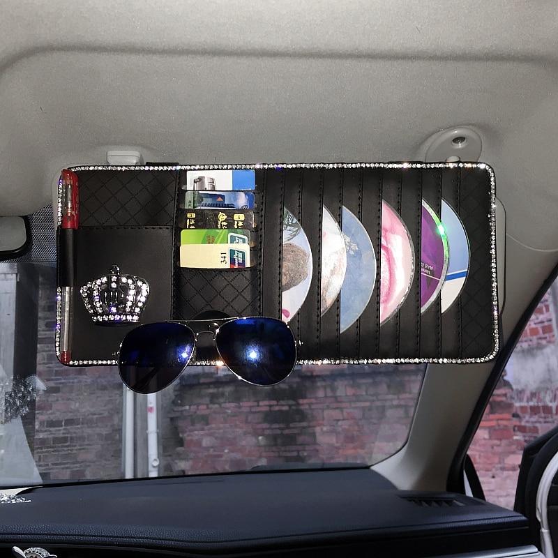 Crystal-Diamond-Bowknot-Car-Sun-Visor-Organizer-Holder-Multi-Use-PU-Leather-Storage-Bag-Case-Universal-for-CD-Card-122