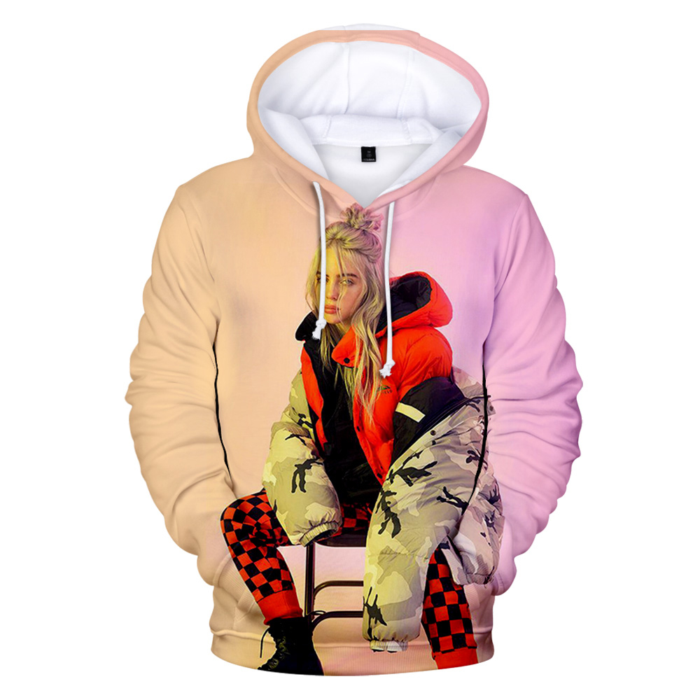 New Print American Singer Billie Eilish 3D Hoodies Women Men Sweatshirt Harajuku Children Pullovers 3D Billie Eilish Girls Hoody